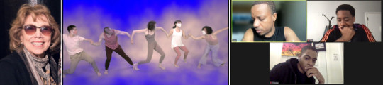 """(L) Gloria Vando, Poet. (C) """"Breath,"""" choreographed by Jennfer Chin. (R) Screenshot of Zoom rehearsal for """"Trilogy"""" by Nathan Yungergerg."""