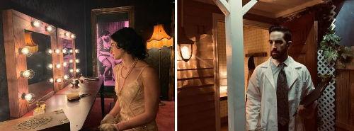 "Left: Gara Roda, Artistic Director of Myss Tic Escape Roms, in set of ""Ghost Light Dreams."" Photo by Imanol Fuentes. .Right: Imanol Fuentes as scientist in set of ""Montauk Dreams."" Photo by Gara Roda."